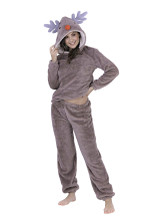 Ladies Novelty Hood Reindeer Snuggly Luxury Fleece Twosie