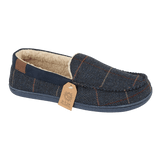 Jo & Joe Mens Glengarry Navy Tweed Sherpa Lined Moccasin Slippers