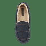 Jo & Joe Mens Glengarry Navy Check Tweed Sherpa Lined Moccasin Slippers