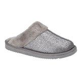 Jo & Joe Ladies Silver Sparkle Fur Collar & Lining Mule Slippers