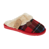 Jo & Joe Ladies Shetland Red Tartan Fur Collar & Lining Mule Slippers