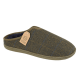Jo & Joe Mens Hamish Khaki Checked Tweed Mule Slippers