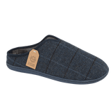 Jo & Joe Mens Hamish Navy Checked Tweed Mule Slippers