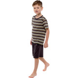 Boys Charcoal Stripe T-Shirt Top & Plain Short Bottoms PJs Set