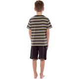 Boys Charcoal Stripe T-Shirt Top & Plain Short Bottoms PJs Set