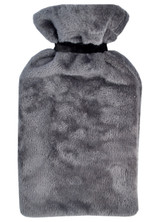 Grey Cuddlesoft Fleece 2L Hot Water Bottle & Tie Cover