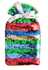 Glam Sequin Rainbow Stripe Luxury Padded Cover 2L Hot Water Bottle