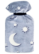 Moon & Stars Glow in the Dark Blue Cosy Fleece 2L Hot Water Bottle