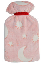 Moon & Stars Glow in the Dark Pink Cosy Fleece 2L Hot Water Bottle
