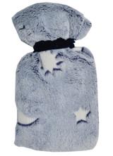 Moon & Stars Glow in the Dark Blue Cosy Fleece 0.5L Mini Hot Water Bottle