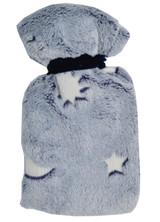 Moon & Stars Glow in the Dark Blue Cosy Fleece 0.5L Mini Hot Water Bottle