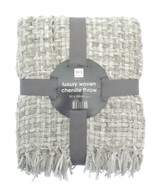 Luxury Marle Stone Basket Weave Chenille Fringed Throw 127x152cm