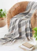 Eco Friendly Grey Diamond Weave Recycled Fibre Throw 170x200cm