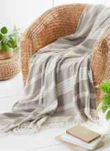 Eco Friendly Stone Diamond Weave Recycled Fibre Throw 170x200cm