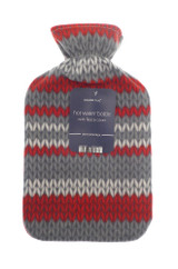 Red & Grey Wool Knit Print Lightweight Fleece 2L Hot Water Bottle