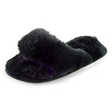 Ladies Plush Black Faux Fur Toe Post Slider Mule Slippers