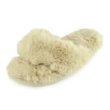 Ladies Plush Cream Faux Fur Toe Post Slider Mule Slippers
