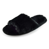 Ladies Plush Black Faux Fur Band Open Toe Slider Mule Slippers