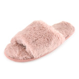 Ladies Plush Pink Faux Fur Band Open Toe Slider Mule Slippers