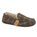 Jo & Joe Mens Swalesdale Brown Check Sherpa Lined Moccasin Slippers