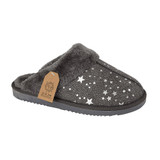 Jo & Joe Ladies Tiggi Grey Star Print Fur Collar & Lining Mules