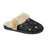 Jo & Joe Ladies Tiggi Navy Star Print Fur Collar & Lining Mules