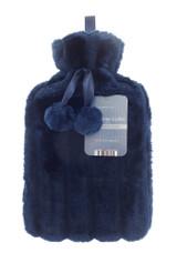 Midnight Blue Cosy Faux Fur Pom Pom 2L Hot Water Bottle