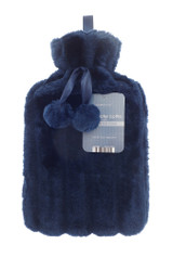 Midnight Blue Cosy Faux Fur Pom Pom 2L Hot Water Bottle