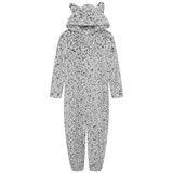Girls Snow Leopard Luxury Flannel Fleece Hooded Onesie