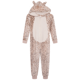 Girls Beige Leopard Luxury Flannel Fleece Hooded Onesie
