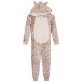Girls Beige Leopard Luxury Flannel Fleece Hooded Onesie