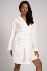Ladies Ivory Luxury Fleece Satin Trim Hooded Bath Robe
