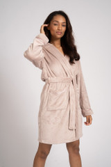 Ladies Mink Luxury Fleece Satin Trim Hooded Bath Robe