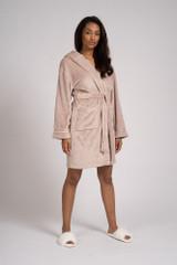 Ladies Mink Luxury Fleece Satin Trim Hooded Bath Robe