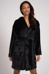 Ladies Black Luxury Fleece Satin Trim Hooded Bath Robe