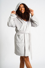 Ladies Silver Luxury Fleece Satin Trim Hooded Bath Robe
