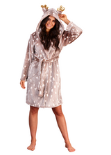 Ladies Reindeer Luxury Flannel Fleece Novelty Hood Bath Robe