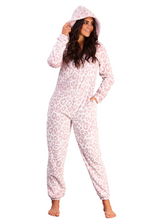 Ladies Pink Leopard Luxury Flannel Fleece Hooded Onesie