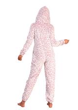 Ladies Pink Leopard Luxury Flannel Fleece Hooded Onesie