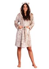 Ladies Leopard Print Luxury Flannel Fleece Hooded Bath Robe