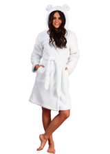 Ladies Mint Teddy Ears Sherpa Fleece Hooded Bath Robe
