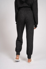 Ladies Charcoal Grey Marl Soft Knit Cuffed Jogger Lounge Pants