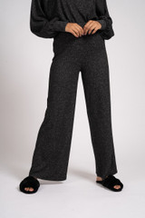 Ladies Charcoal Grey Marl Soft Knit Wide Leg Lounge Pants