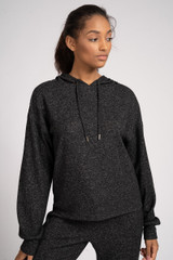 Ladies Charcoal Grey Marl Soft Knit Hooded Lounge Top