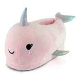 Girls Cute Pink Narwhal Soft Fleece 3D Novelty Slippers