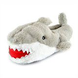 Boys Grey Shark Plush Faux Fur 3D Novelty Slippers