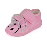 Toddlers Pink Triceratops Easy Access Fleece Slipper Booties