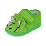Toddlers Green Triceratops Easy Access Fleece Slipper Booties