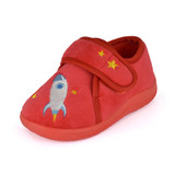 Toddler Boys Red Rocket Ship Easy Access Fleece Slipper Booties