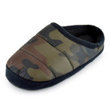 Boys Khaki Camo Print Quilted Puffer Mule Slippers